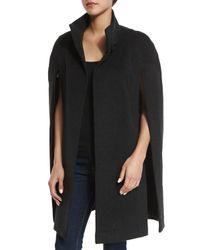 Fleurette - Black Stand Collar Wool Cape - Lyst