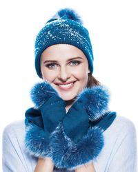 Neiman Marcus - Blue Cashmere Tech Gloves W/fox Fur Cuff - Lyst