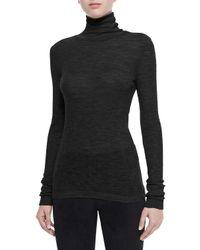 T By Alexander Wang - Black Sheer Roll-Neck Sweater - Lyst