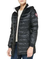 Canada Goose - Black Camp Hooded Mid-length Puffer Coat - Lyst