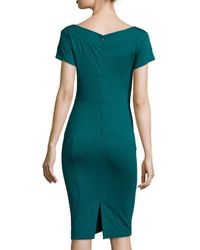 Nicole Miller Artelier | Green Short-sleeve Ponte Body-conscious Sheath Dress | Lyst