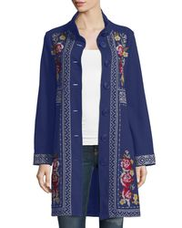 Johnny Was | Blue Joy Embroidered Military Coat | Lyst