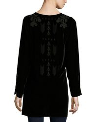 Johnny Was - Brown Holland Embroidered Velvet Tunic - Lyst