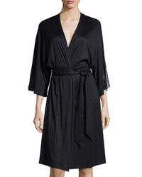 Hanro | Black Constance Lace-inset 3/4-sleeve Wrap Robe | Lyst