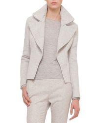 Akris - Gray Slim-fit Cashmere Jacket W/wide-zip Detail - Lyst