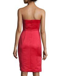 MILLY - Black Marta Strapless Duchess Satin Dress - Lyst