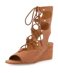 Chloé | Brown Suede Gladiator Wedge Sandal | Lyst
