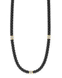 Lagos | Black Caviar Diamond 3-station Necklace | Lyst