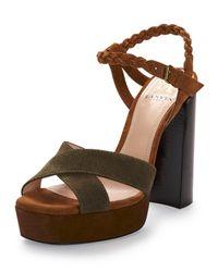 Lanvin - Brown Braided Suede Platform Sandal - Lyst