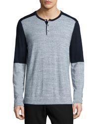 VINCE | Blue Colorblock Long-sleeve Henley Shirt for Men | Lyst