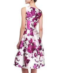 Oscar de la Renta - Purple Watercolor Floral-print Mikado Cocktail Dress - Lyst
