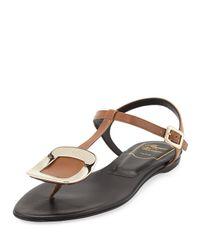 Roger Vivier - Black Chips T-Bar Leather Sandals - Lyst