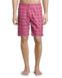 Peter Millar | Red Waimea Floral-print Swim Trunks for Men | Lyst