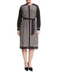 Marina Rinaldi Black Damiere Belted Geometric-print Dress