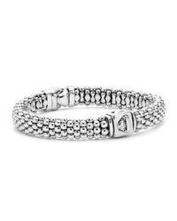 Lagos | Metallic Sterling Silver Caviar & Diamond Rope Bracelet | Lyst