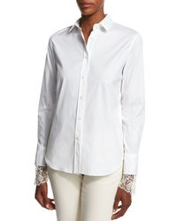 Brunello Cucinelli - White Poplin Blouse W/scalloped Lace Cuffs - Lyst