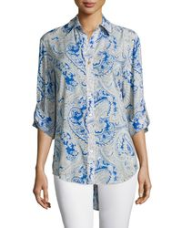 Finley   Blue 3/4-sleeve Button-front Printed Shirt   Lyst