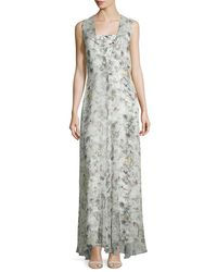 Adam Lippes - Green Sleeveless Floral-print Silk Gown - Lyst