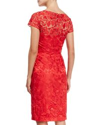 David Meister - Red Short-sleeve Lace Sheath Cocktail Dress - Lyst