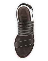 Brunello Cucinelli - Black Monili-Trim Leather Sandal - Lyst