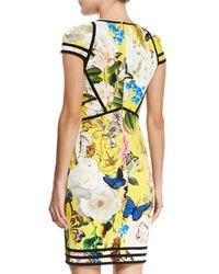 Roberto Cavalli - Yellow Floral-print Punto Cap-sleeve Dress - Lyst