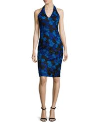 David Meister | Blue Halter-neck Floral-lace Cocktail Dress | Lyst