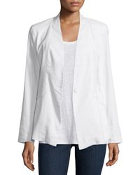 Eileen Fisher | White Angled Front Linen-stretch Jacket | Lyst