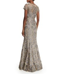 David Meister - Gray Short-sleeve Floral Jacquard Mermaid Gown - Lyst