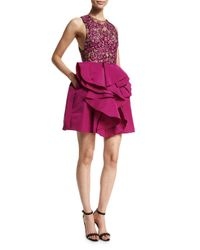 Marchesa | Purple Sleeveless Embroidered-bodice Party Dress | Lyst