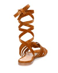 Gianvito Rossi | Brown Pompei Ankle-wrap Gladiator Sandal | Lyst