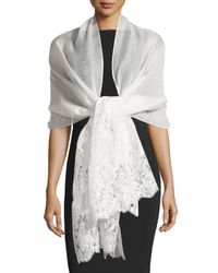 Valentino | White Lace-trim Silk-blend Shawl | Lyst