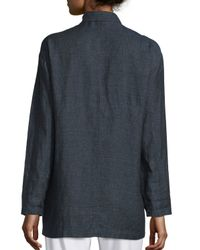 Eileen Fisher | Blue Organic Linen One-button Long Blazer | Lyst