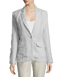 Neiman Marcus | Gray One-button Fitted Linen Blazer | Lyst