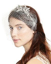 Jennifer Behr - White Isabelle Voilette Headband With Veil - Lyst