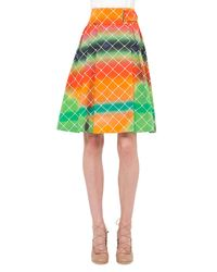 Akris Punto - Multicolor Net-print A-line Cotton Skirt - Lyst