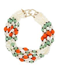 Kenneth Jay Lane | Metallic Pearly Colorblock Multi-strand Necklace | Lyst