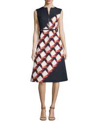 SUNO - Black Diagonal Square Zip-front Midi Dress - Lyst