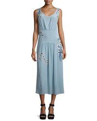 SUNO - Blue Sleeveless Beaded Silk Midi Dress - Lyst