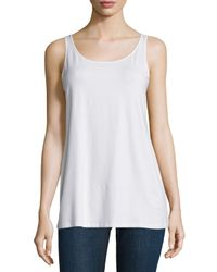 Eileen Fisher - White Sleeveless Scoop-neck Lightweight Jersey Tank - Lyst