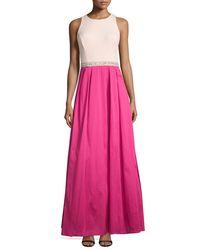Aidan Mattox | Pink Sleeveless Beaded-waist Combo Gown | Lyst