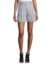 DKNY   Gray High-rise Linen-blend Shorts   Lyst