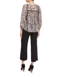 Rebecca Taylor - Multicolor Lindsay 3/4-sleeve Floral Silk-blend Top - Lyst