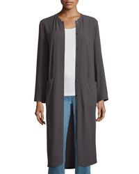 Eileen Fisher - Brown Long Button-front Silk Duster Coat - Lyst