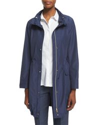 Peserico - Natural Polished Midi Drawstring Raincoat - Lyst