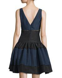 Carolina Herrera - Blue Sleeveless Colorblock Faille Party Dress - Lyst