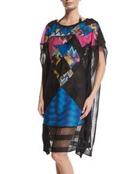 Missoni - Black Patchwork Multi-print Poncho Coverup - Lyst