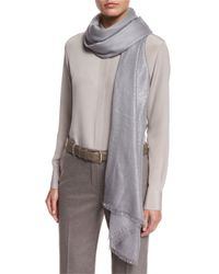 Loro Piana - Gray Duo Evening Cashmere-blend Stole - Lyst
