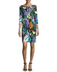 Etro - Green 3/4-sleeve Graffiti & Paisley Print Dress - Lyst