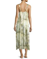 Christine - Green Magnolia Printed Silk Gown - Lyst