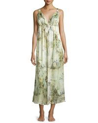 Christine - Green Magnolia Printed Silk Gown - Lyst